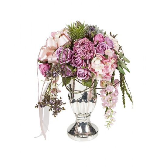 Gümüş Vazoda Lila Pembe Nişan Çiçeği, söz çiçeği, isteme çiçeği olarak kullanılabilecek dekoratif yapay çiçek, kuk çiçek